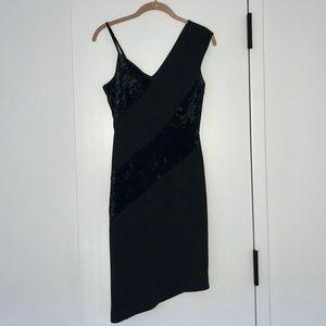 Rachel Roy Velvet Panel Asymmetrical Dress, Size 2
